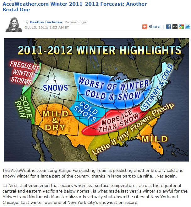 Weather models blow US winter forecast 2011-2012
