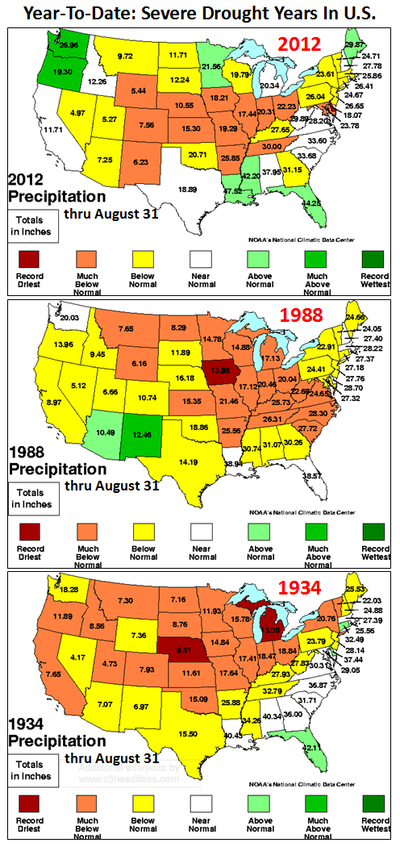 NOAA U.S. droughts extreme climate change severe