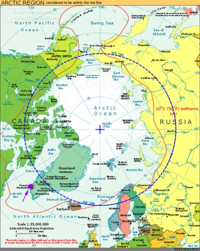 Arctic circle polar region