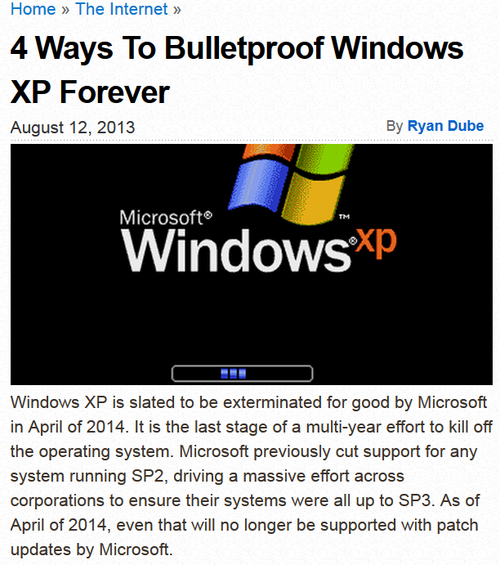 Microsoft windows xp dies in 2014