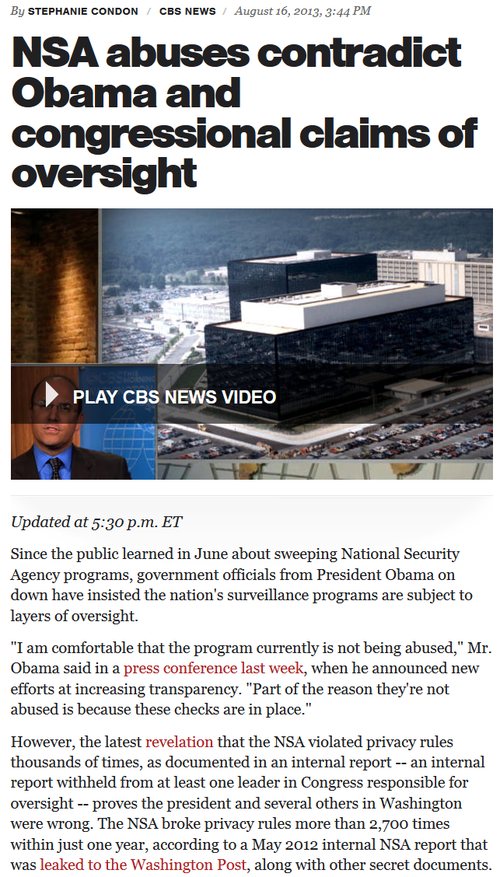 Obamas NSA CBS reports they lied about spying on americans