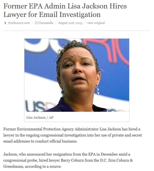 Green activist lisa jackson epa corruption illegal email