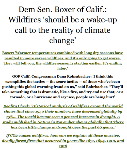 Anti-science climate liar denier democrat barbara boxer wild fires