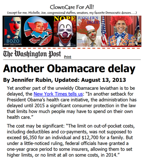 Obamacare clowncare incompetence obama big govt