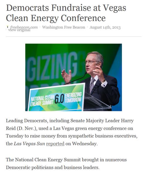 Green cronyism corruption democrat senator harry reid seeking more