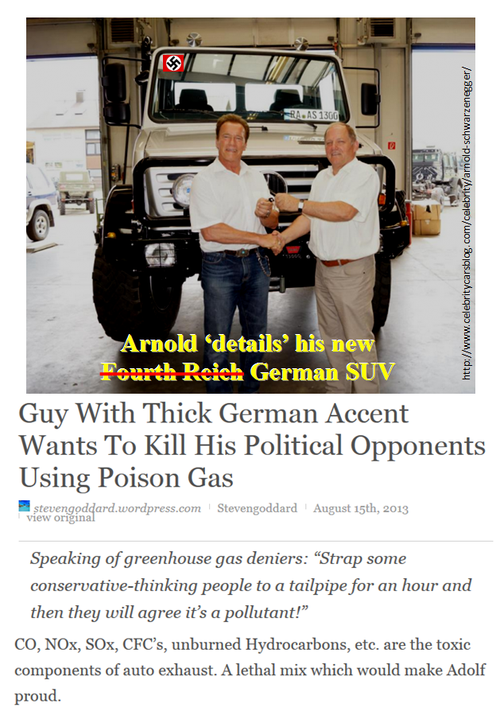 Arnold schwarzenegger global warming hypocrite and his gigantic nazi suv