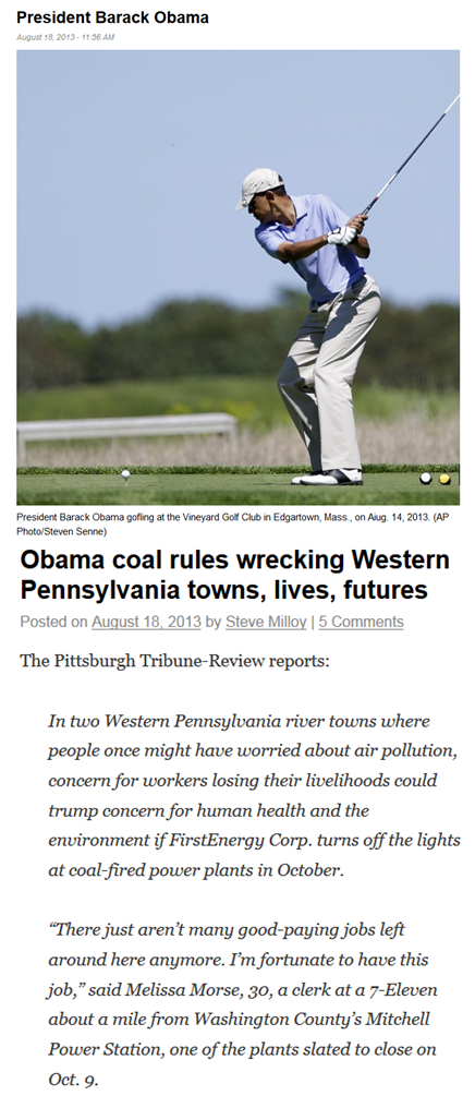 Obama golfs while epa destroys coal x