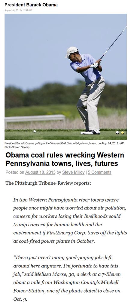 Obama golfs while epa destroys coal x