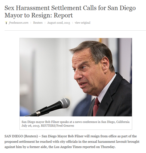 Democrat san diego mayor bob filner sexual predator