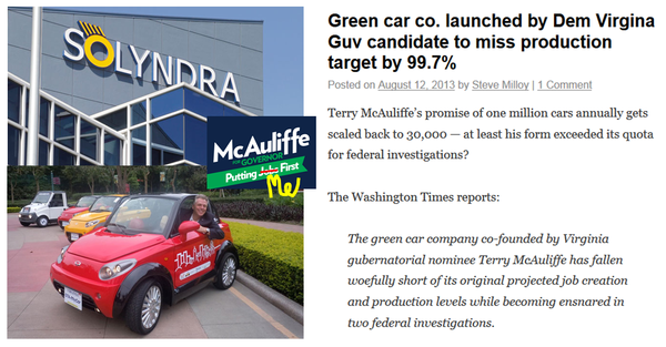 Greentech elecric car terry mcauliffe green crony failure obama solyndra