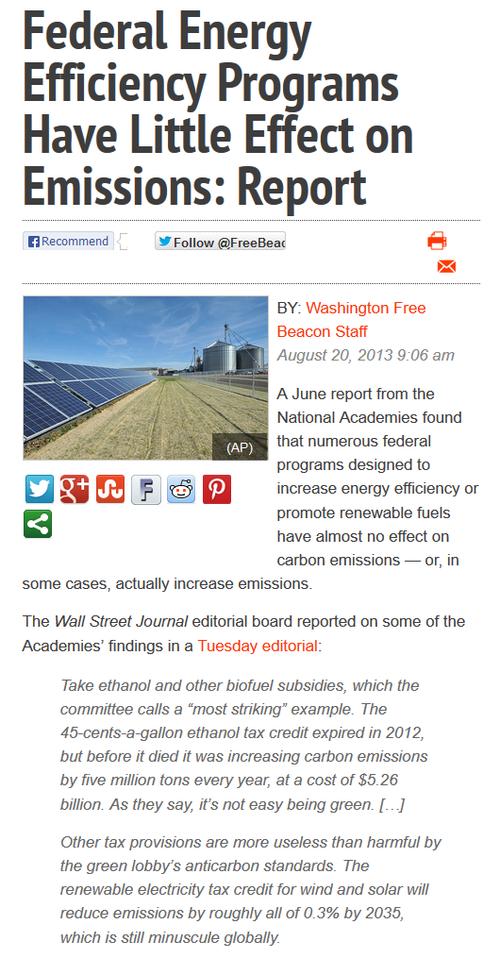 Ethanol green energy efficiency programs a waste