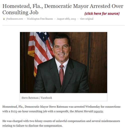 Democrat Mayor Homestead Florida Steve Bateman arrested