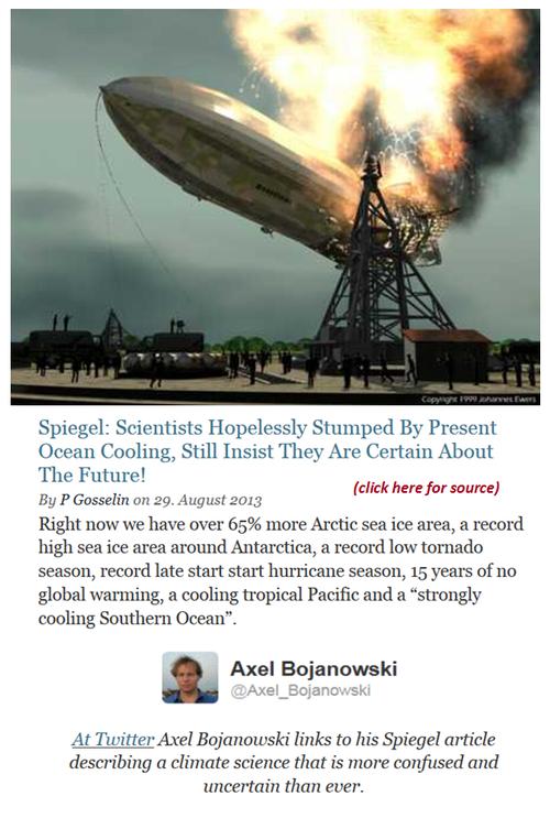 Climate change alarmism science burning crashing like hindenburg