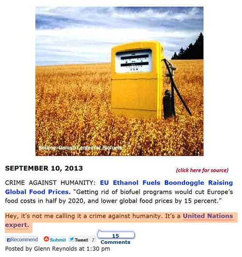 Eu Ethanol un crime against humanity global warming