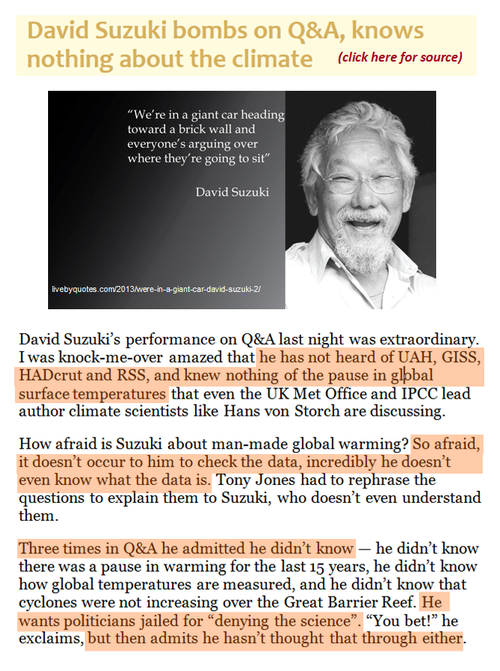 Todays climate denier liar bser david suzuki scary ignorance global warming climate change
