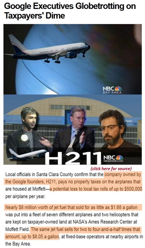 Hypocrites R Us Google Execs Jets taxpayer subsidized