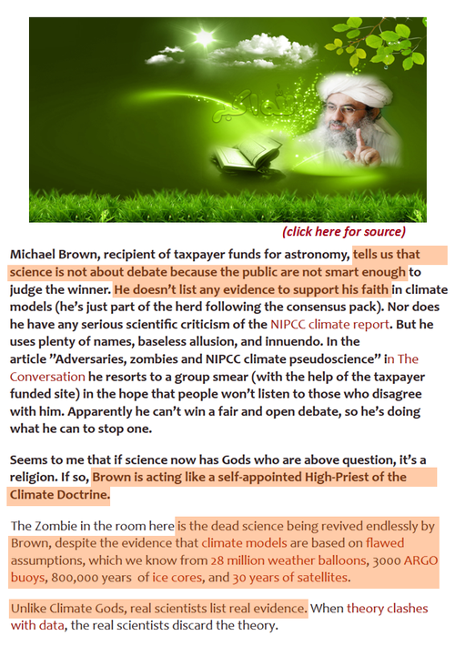 Michael brown monash university climate liar denier bser green ipcc religion fanatic