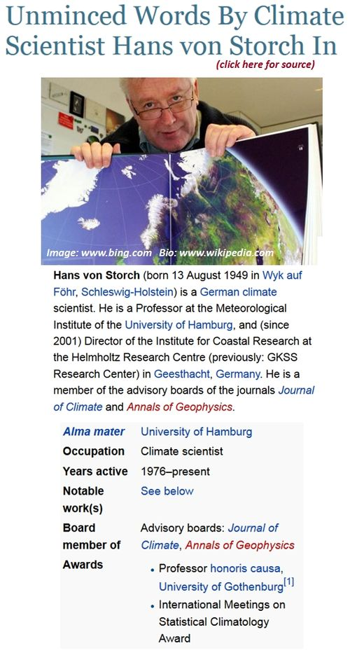 Hans von storch un ipcc lead author slams climate global warming alarmist scientists