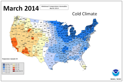 Noaa march 2014 US temperature map 051314