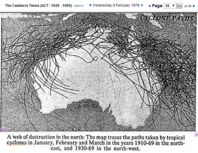 Australia cyclone paths low co2 1910-1969