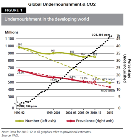 Global undernourishment co2 fao ipcc 1990-2013