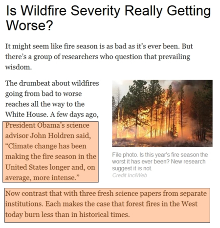 Obama white house lying climate wildfires aug2014