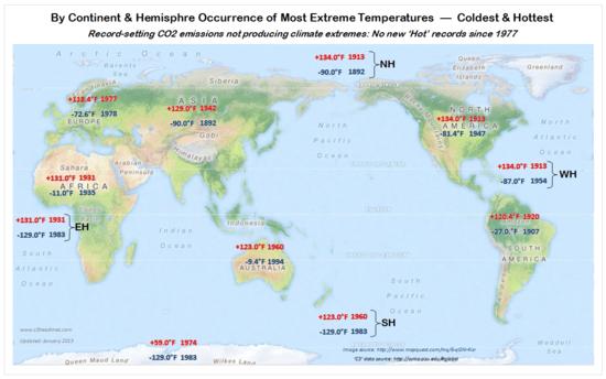 WMO Hemisphere Continent temperature extreme records 2014