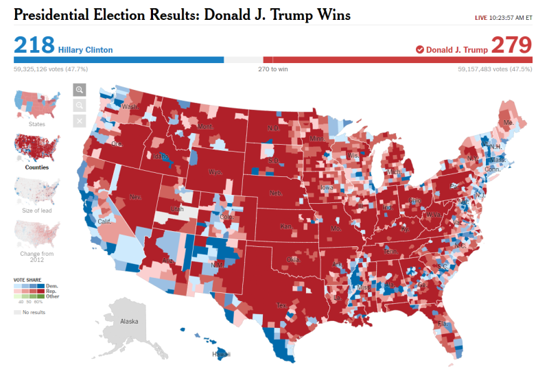 NYT 2016 President Election Results By County 110916