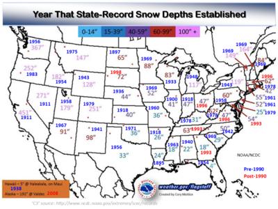 US snow depth records NOAA NCDC 2014 012115