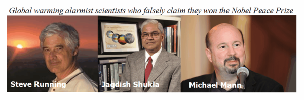 Global warming alarmist scientists who falsely claim they won the Nobel Peace Prize mann shukla running