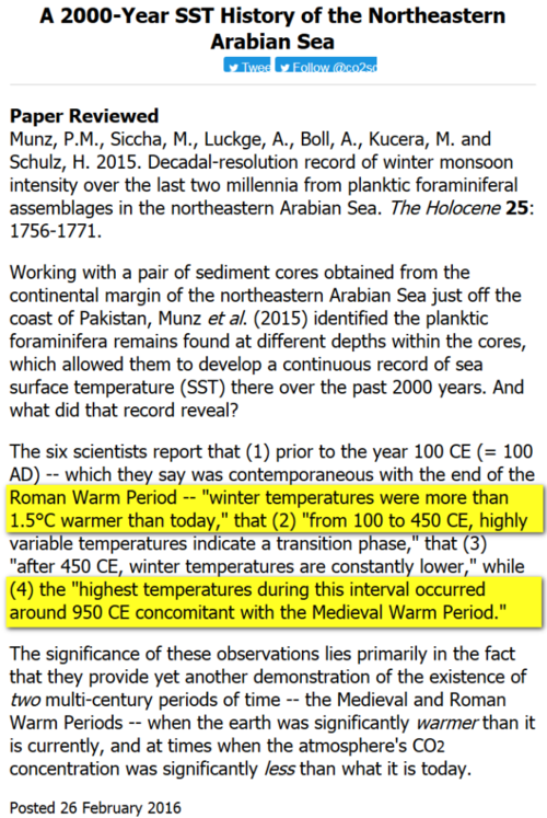 Arabian Sea Hotter during Roman Medieval Periods 030116